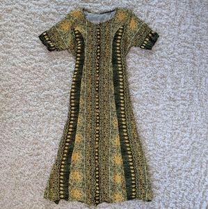 VTG Green&Yellow Tie BackPrint Maxi Dress SZ M/L
